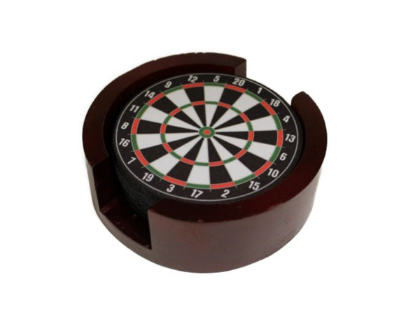 Darts Dartboard Coaster Set of 5 with Wood Holder