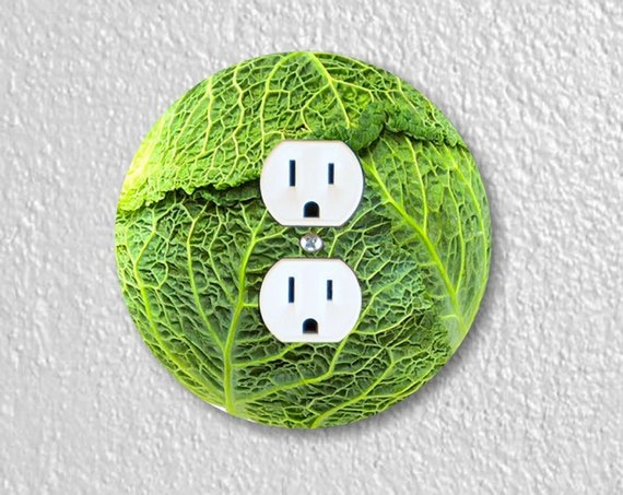 Precision Laser Cut Duplex And Grounded Outlet Round Plate Covers - Cabbage - Home Decor - Wall Decor - Wallplates