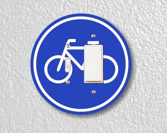 Bicycle Sign Precision Laser Cut Round Toggle and Decora Rocker Light Switch Wall Plate Cover