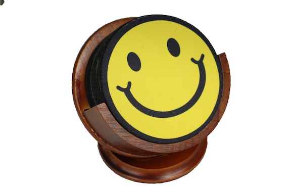 Smiling Face Coaster Set of 8 Neoprene Backed with Cherry Colored Pedestal Wood Holder