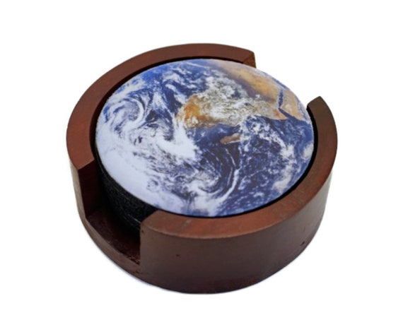 Planet Earth from Space Coaster Set of 5 with Wood Holder