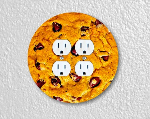 Chocolate Chip Cookie Round Double Duplex Outlet Plate Cover
