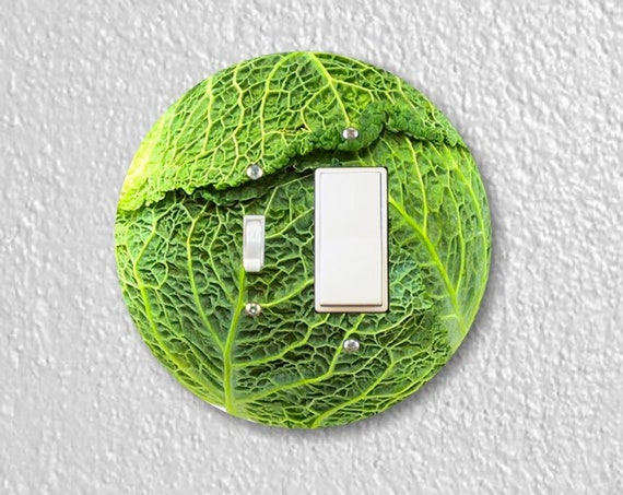 Cabbage Precision Laser Cut Round Toggle and Decora Rocker Light Switch Wall Plate Cover