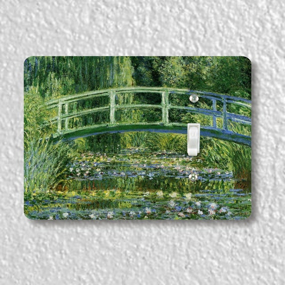 Precision Laser Cut Toggle And Decora Rocker Light Switch Plate Covers - Water Lilies And Japanese Bridge Monet - Home Decor - Wallplates