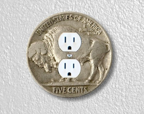 Buffalo Nickel Coin Precision Laser Cut Duplex and Grounded Outlet Round Wall Plate Covers