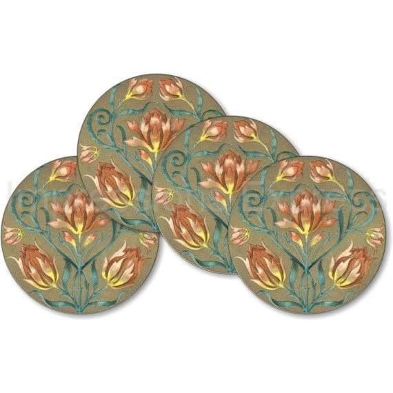 Victorian Floral Round Coasters - Set of 4