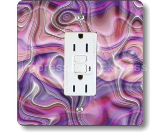 Purple Silk Ripple Square Grounded GFI Outlet Plate Cover
