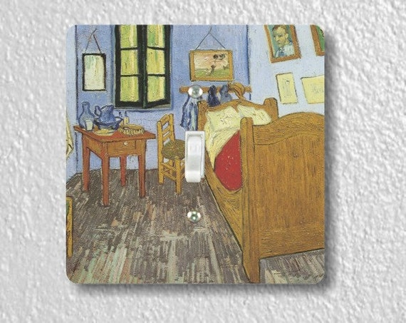 Vincent Van Gogh The Bedroom Painting Square Single Toggle Light Switch Plate Cover