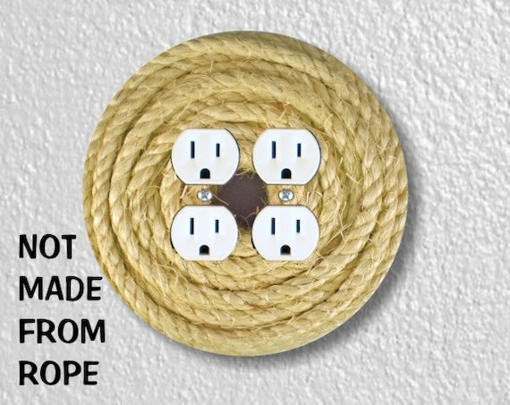 Nautical Sisal Rope Round Double Duplex Outlet Plate Cover