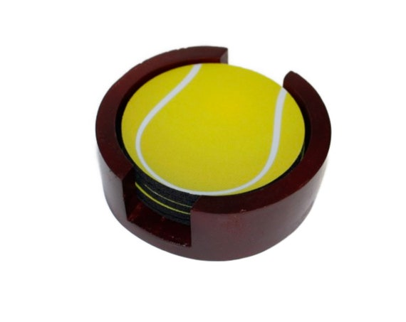 Tennis Ball Coaster Set of 5 with Wood Holder