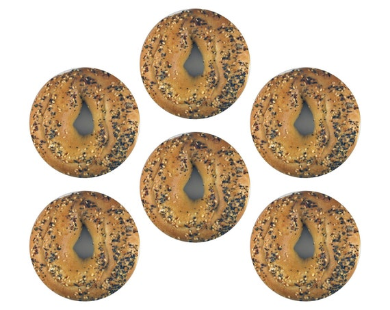 Glossy Bagel Round Cork Backed Coasters (Set of 6)
