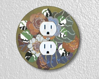 Floral Art Deco Art Nouveau Precision Laser Cut Duplex and Grounded Outlet Round Wall Plate Covers