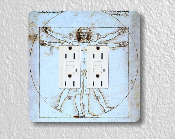 Vitruvian Man Da Vinci Drawing Square Double GFI Grounded Outlet Plate Cover