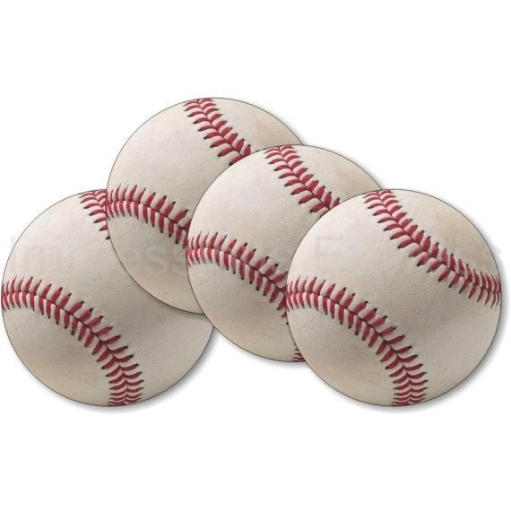 White Baseball Coasters - Set of 4