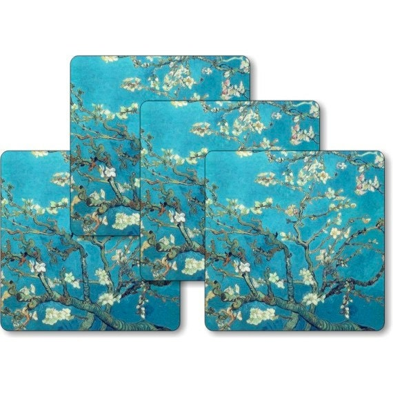 Vincent Van Gogh Almond Branches Painting Square Coasters - Set of 4