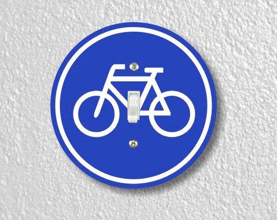 Precision Laser Cut Toggle And Decora Rocker Round Light Switch Plate Covers - Bicycle Sign - Home Decor - Wallplates