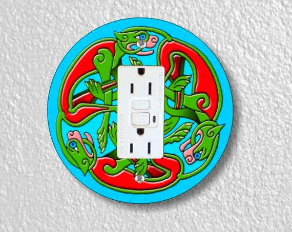 Celtic Dragon Round GFI Grounded Outlet Plate Cover