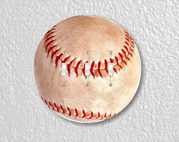 Baseball Ball Sport Round Triple Toggle Light Switch Plate Cover
