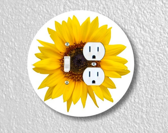 Sunflower Flower Round Toggle Switch and Duplex Outlet Double Plate Cover