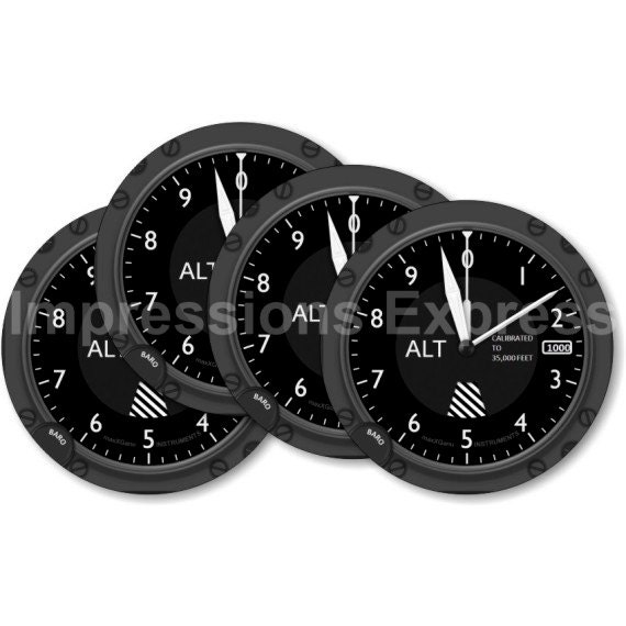 Altimeter Aviation Coasters - Set of 4