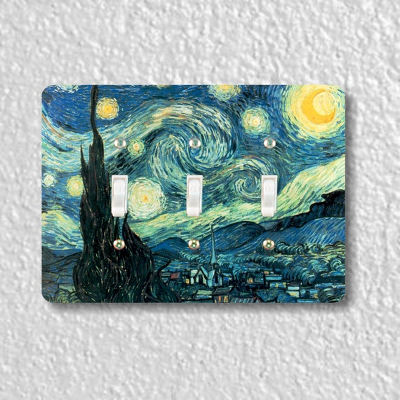 Starry Night Van Gogh Painting Triple Toggle Light Switch Plate Cover