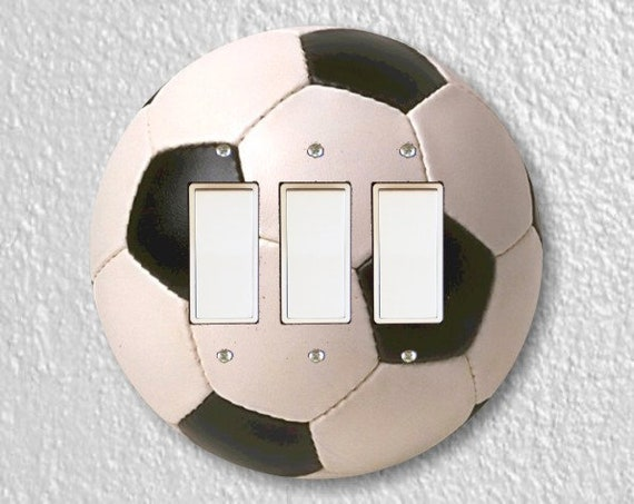 Soccer Sports Ball Round Triple Decora Rocker Light  Switch Plate Cover