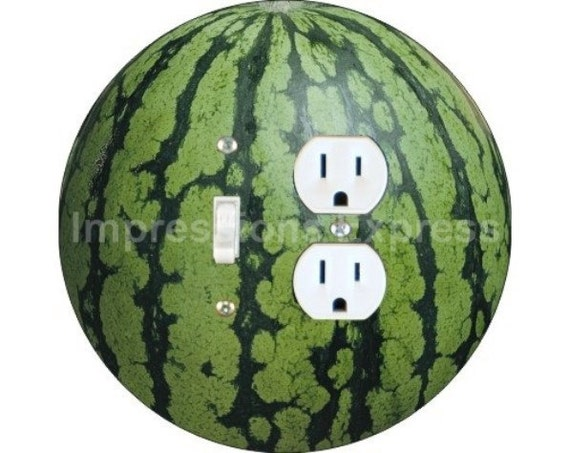 Watermelon Fruit Toggle Switch and Duplex Outlet Double Plate Cover