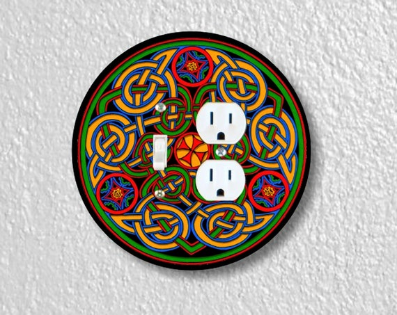 Precision Laser Cut Toggle Switch and Duplex Outlet Round Double Plate Cover - Celtic Knot - Home Decor - Wallplates