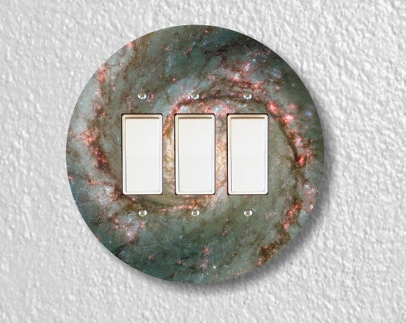 Whirlpool Galaxy Space Round Triple Decora Rocker Light Switch Plate Cover