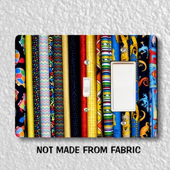 Quilt Fabric Toggle and Decora Rocker Double Switch Plate Cover