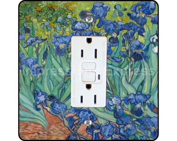 Vincent Van Gogh Irises Painting Square GFI Outlet Plate Cover