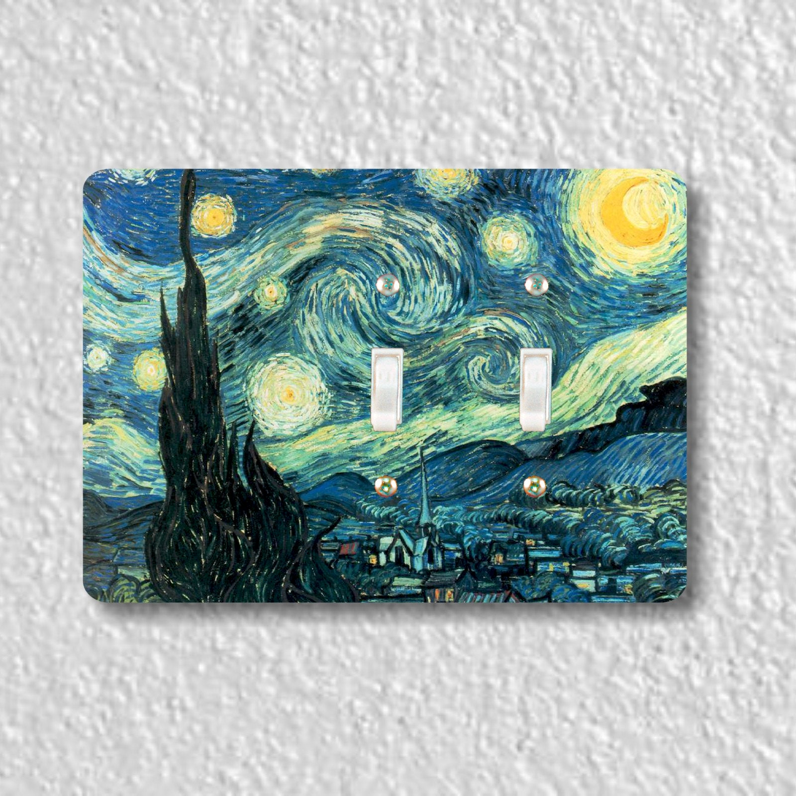 Starry Night Van Gogh Painting Double Toggle Light Switch Plate Cover