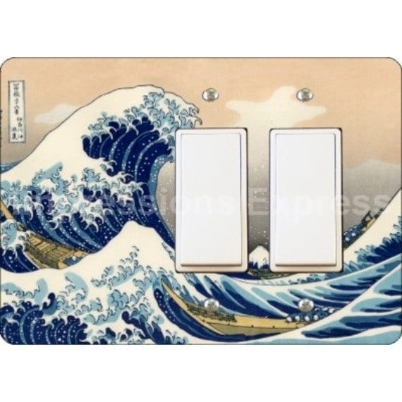 Kanagawa Great Wave Hokusai Painting Double Decora Rocker Light Switch Plate Cover