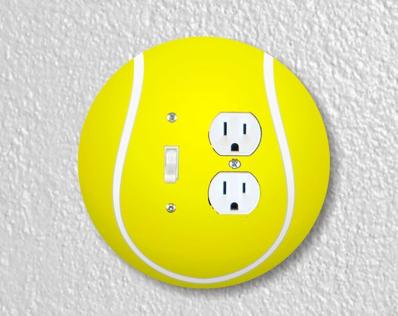 Tennis Ball Precision Laser Cut Toggle Switch and Duplex Outlet Round Double Plate Cover