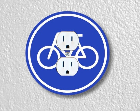 Precision Laser Cut Duplex And Grounded Outlet Round Plate Covers - Bicycle Sign - Home Decor - Wall Decor - Wallplates