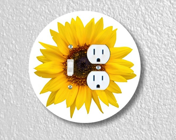 Sunflower Flower - Precision Laser Cut Round Toggle Switch and Duplex Outlet Double Plate Cover - Home Decor - Wall Plate