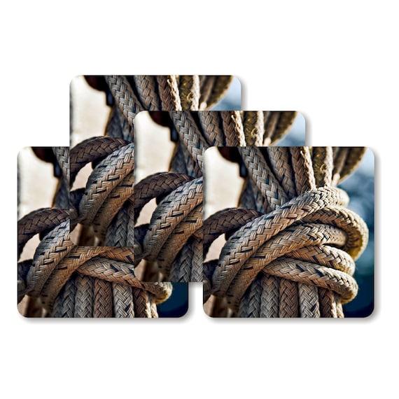Nautical Rope Knot Square Coasters - Set of 4