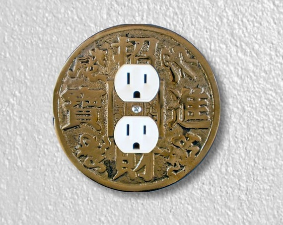 Precision Laser Cut Duplex And Grounded Outlet Round Plate Covers - Chinese Fortune Coin - Home Decor - Wall Decor - Wallplates