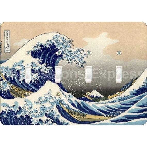Kanagawa Great Wave Hokusai Painting Quadruple Toggle Light Switch Plate Cover