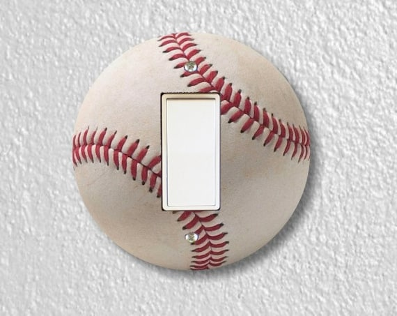 White Baseball Round Decora Rocker Light Switch Plate Cover
