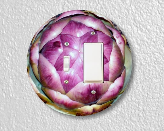 Precision Laser Cut Toggle and Decora Rocker Round Light Switch Plate Cover - Artichoke - Home Decor - Wallplates