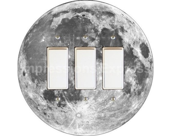 Moon from Space Triple Decora Rocker Switch Plate Cover