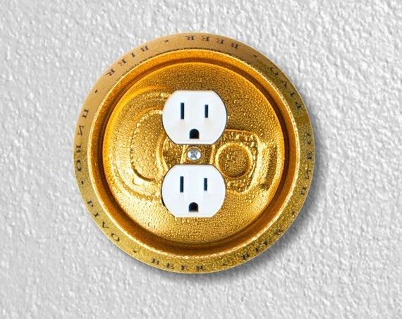 Beer Can Precision Laser Cut Duplex and Grounded Outlet Round Wall Plate Covers