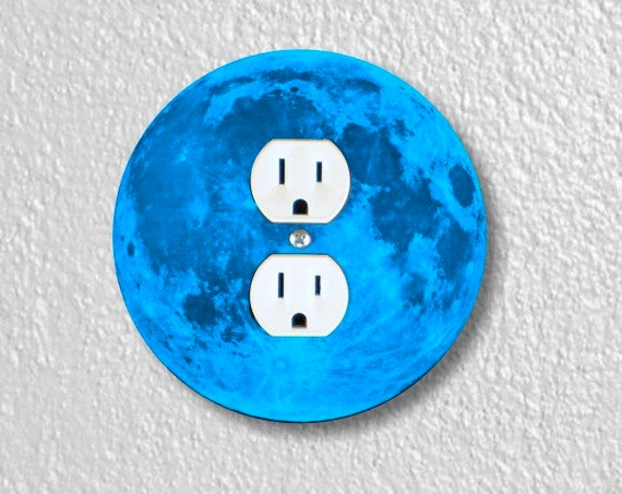 Blue Moon Round Duplex Outlet Plate Cover