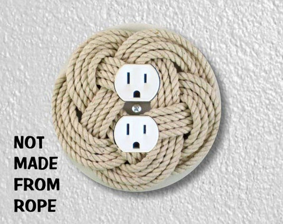 Turk's Head Knot Nautical Precision Laser Cut Duplex and Grounded Outlet Round Wall Plate Covers