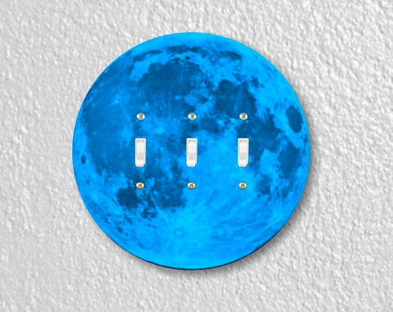 Blue Moon Round Triple Toggle Switch Plate Cover