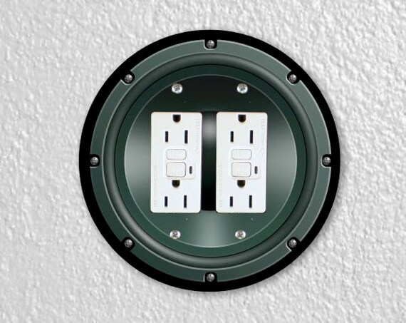 Black Music Loudspeaker Round Double Grounded GFI Outlet Plate Cover