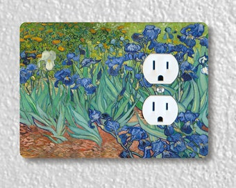 Van Gogh Irises Painting Precision Laser Cut Duplex and Grounded Outlet Wall Plate Covers