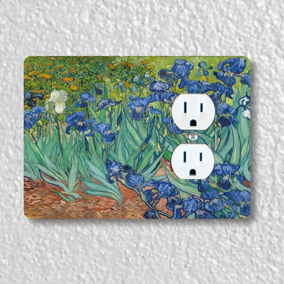 Precision Laser Cut Duplex And Grounded Outlet Plate Covers - Van Gogh Irises Painting - Home Decor - Wall Decor - Wallplates