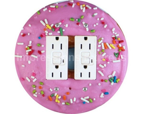 Pink Doughnut Double GFI Outlet Plate Cover